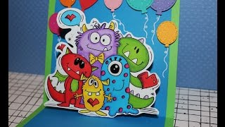 Happy Monsters birthday pop up card and colouring with Pro markers