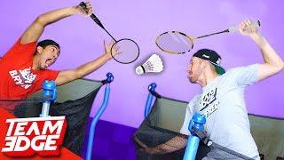 Trampoline Badminton Challenge!!