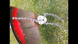 Homemade Chain for TRIMMER EXPERIMENT  TEST  głowica do kosy spalinowej z łańcucha od piły