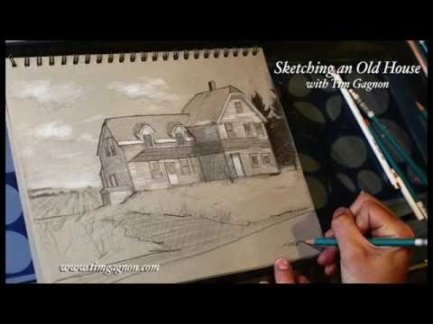 Sketching an Old House with Tim Gagnon - FREE full drawing lesson