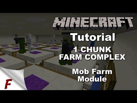 Minecraft 1 Chunk Fully Automatic Farm Complex Tutorial Mob Farm Module