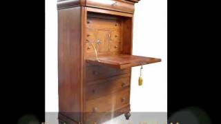 Mobili di lusso:scrittoio secreteire Luigi filippo 800 con ribalta e piano pelle