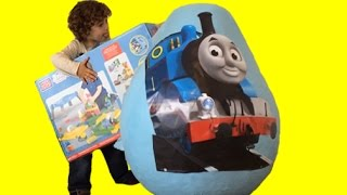 Thomas The Tank Giant Surprise Egg Opening - Train Toys Unboxing and Playtime