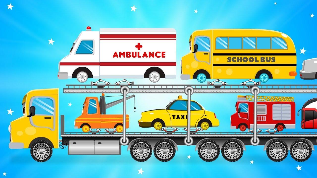 Car Transport Truck Carrying Street Vehicles Fire Truck
