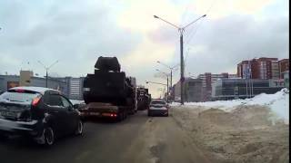 Column of heavy military equipment for the war in Ukraine