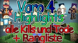 Minecraft Varo 4 Highlights - alle Kills und Tode + Rangliste