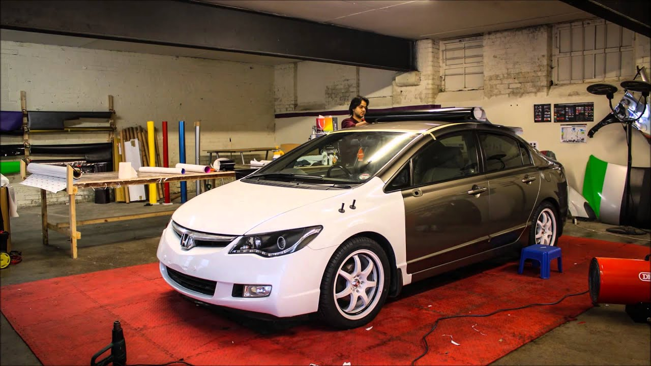 Honda Civic Hybrid Gloss White Wrap - YouTube