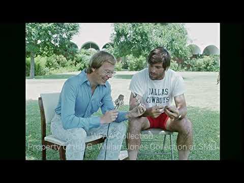 Walt Garrison whittles. WFAA. August 7, 1973.