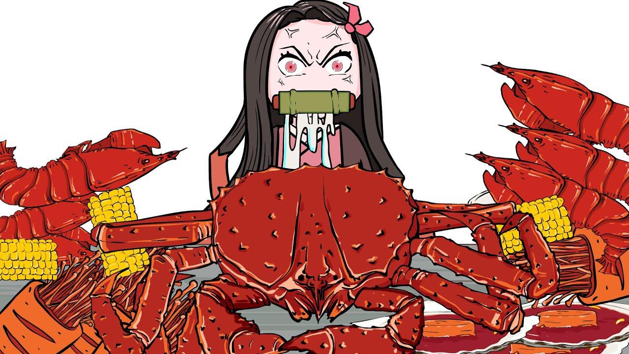 Demon Slayer Mukbang #3   React when Nezuko eat seafood   귀멸의 칼날 네즈코 애니 먹방 - 해산물을 먹다