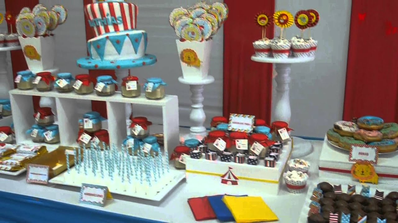 Fiesta infantil decoracion circo travesuras kids youtube for Decoracion pared infantil