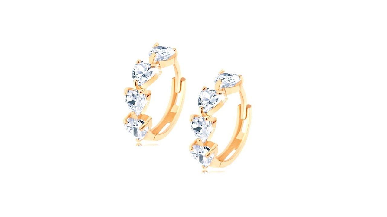 c7e6b1d20 Šperky - Okrúhle zlaté náušnice 585 - línia zirkónových srdiečok čírej farby