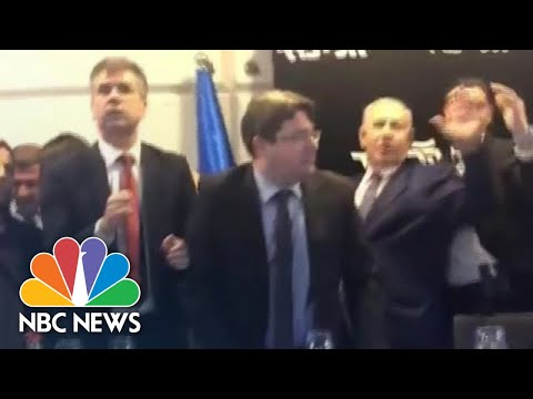 Prime Minister Benjamin Netanyahu Is Rushed Off Stage Amid Rocket Attack | NBC News