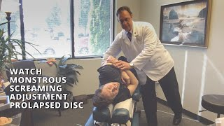 Lacey Chiropractor Helps Patient. Watch Monstrous Screaming Adjustment Prolapsed Disc Pinched Nerve.