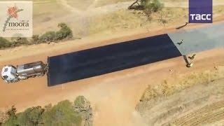 Скоростноое строительство дороги в Австралии(Видео скоростного строительства дороги стало хитом в сети. Кадры, отснятые с дрона в Австралии, были просмо..., 2017-01-13T08:20:35.000Z)