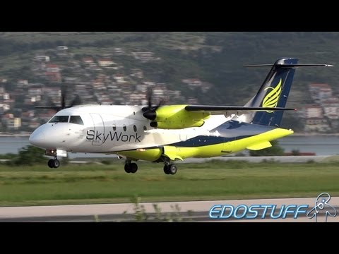 SkyWork Airlines - Dornier 328-110 HB-AES - Landing at Split airport SPU/LDSP