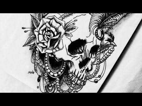 How To Draw Realistic Skull And Pearls Tattoo Design Youtube