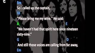 CHORDS AND LYRICS FOR THE EAGLES - HOTEL CALIFORNIA