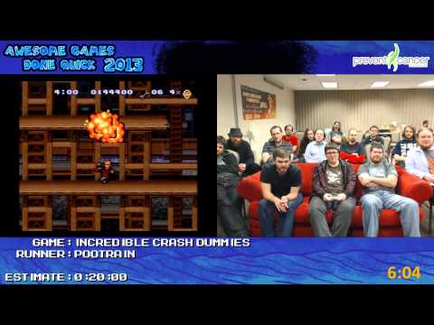 The Incredible Crash Dummies - SPEED RUN (0:16:59) Live at *Awful Games Done Quick 2013 [SNES]