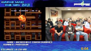 the incredible crash dummies speed run 0 16 59 live at awful games done quick 2013 snes