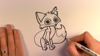How to Draw a Cartoon Fox from Animal Jam - zooshii Style
