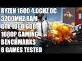 Ryzen 5 1600 + GTX 1060 6GB - 1080p Ultra Gaming Benchmarks - 8 Games Tested