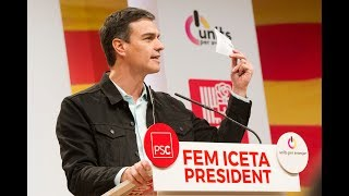 Pedro Sánchez interviene en un acto de campaña del PSC en Girona