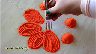 Easy rangoli design using fork & 2 colours l rangoli designs sankranthi muggulu l rangoli by keerthi