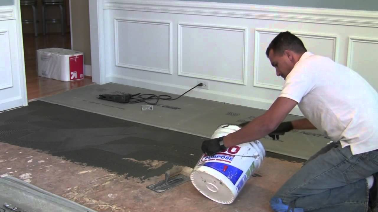 How to install backer boarddurock for floor tile youtube doublecrazyfo Choice Image