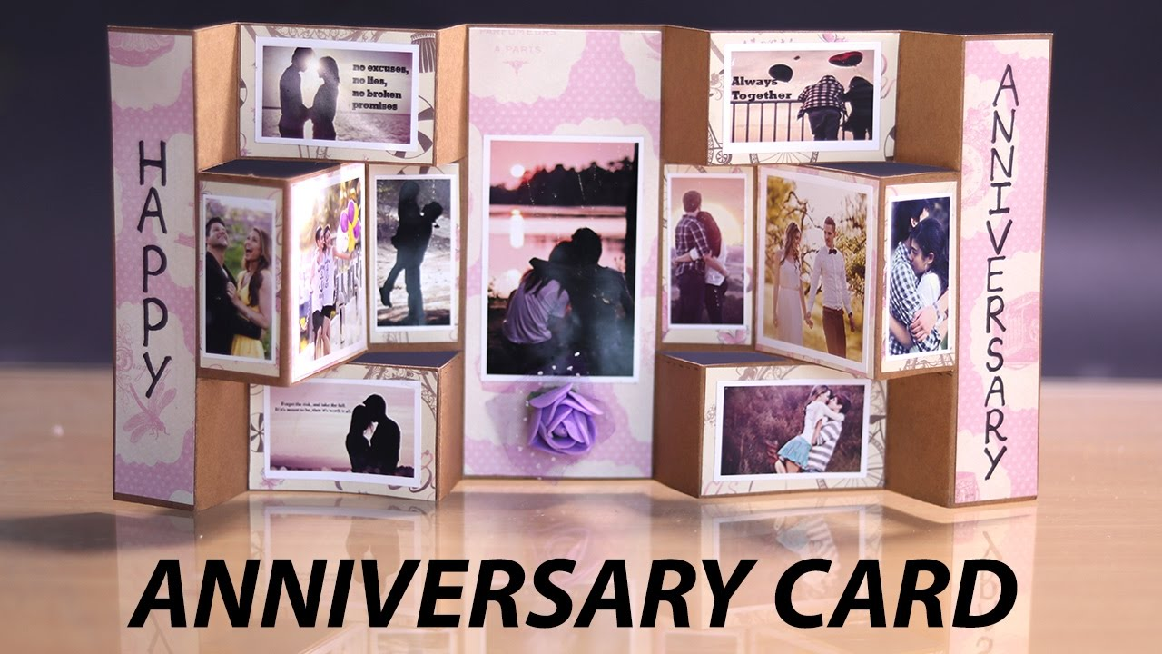 Happy Anniversary Card Handmade Tri Shutter Card For