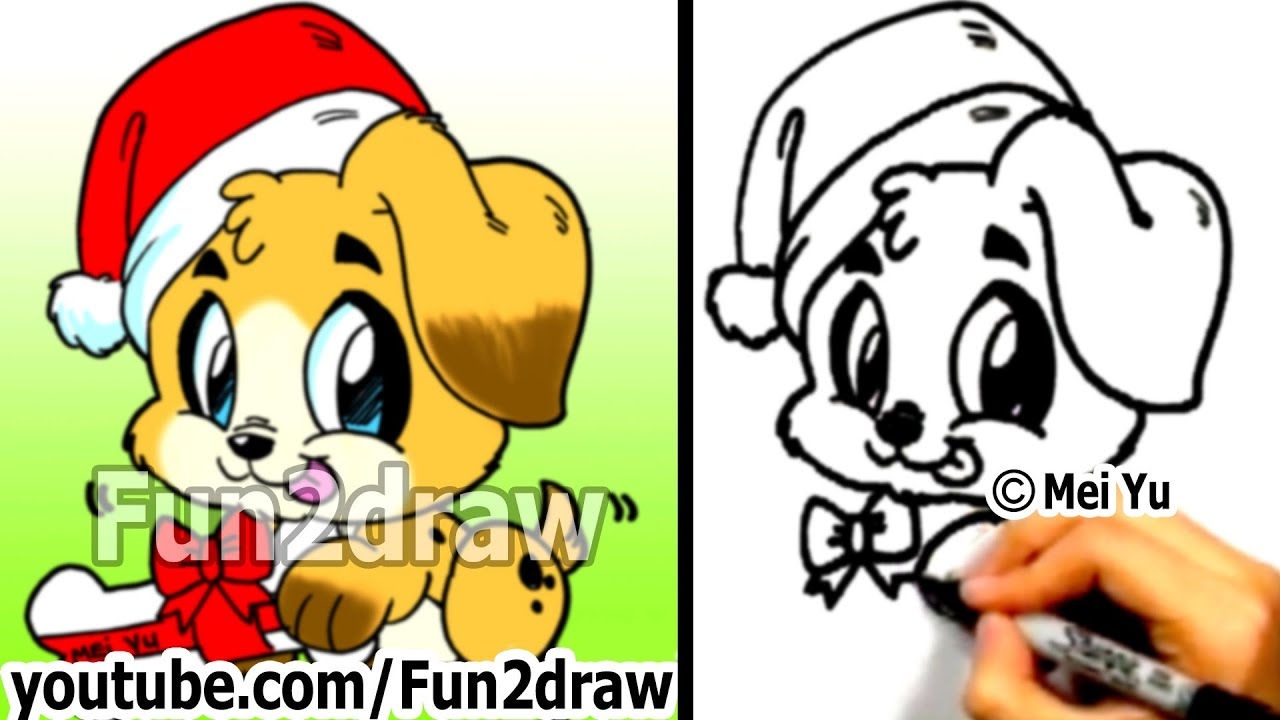 How to Draw Cute Santa PUPPY step by step Draw Animals Cute
