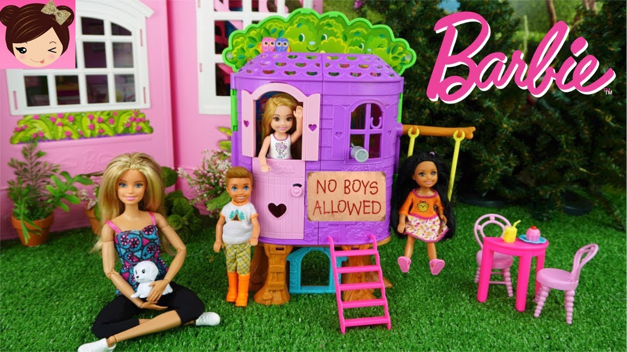 Barbie Chelsea Doesnt Wanna Play With The Boys In Her New Tree Doll House