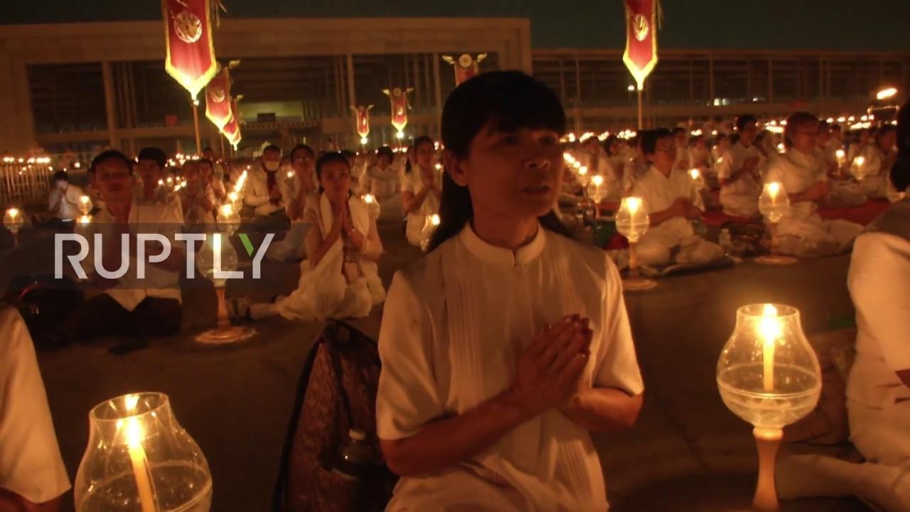 Thailand Buddhists Mark The Full Moon Festival At Wat Phra
