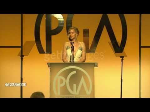Jennifer Lawrence Presents at the Producers Guild Awards