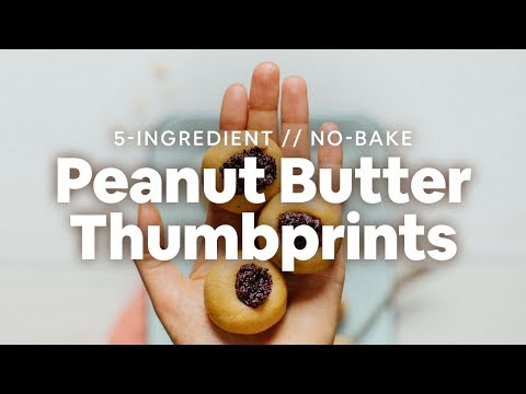 No-Bake Peanut Butter Thumbprint Cookies | Minimalist Baker