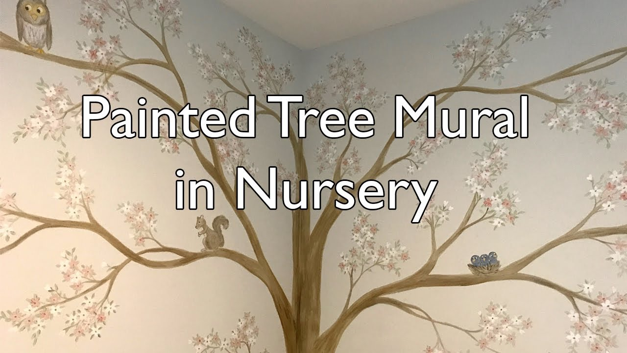 Painted Tree Mural In Baby Nursery Flowering Wall