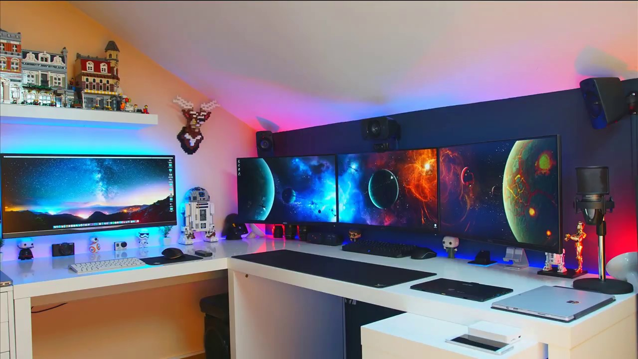 top 40 gaming setup 2017 las mejores habitaciones gamer youtube. Black Bedroom Furniture Sets. Home Design Ideas