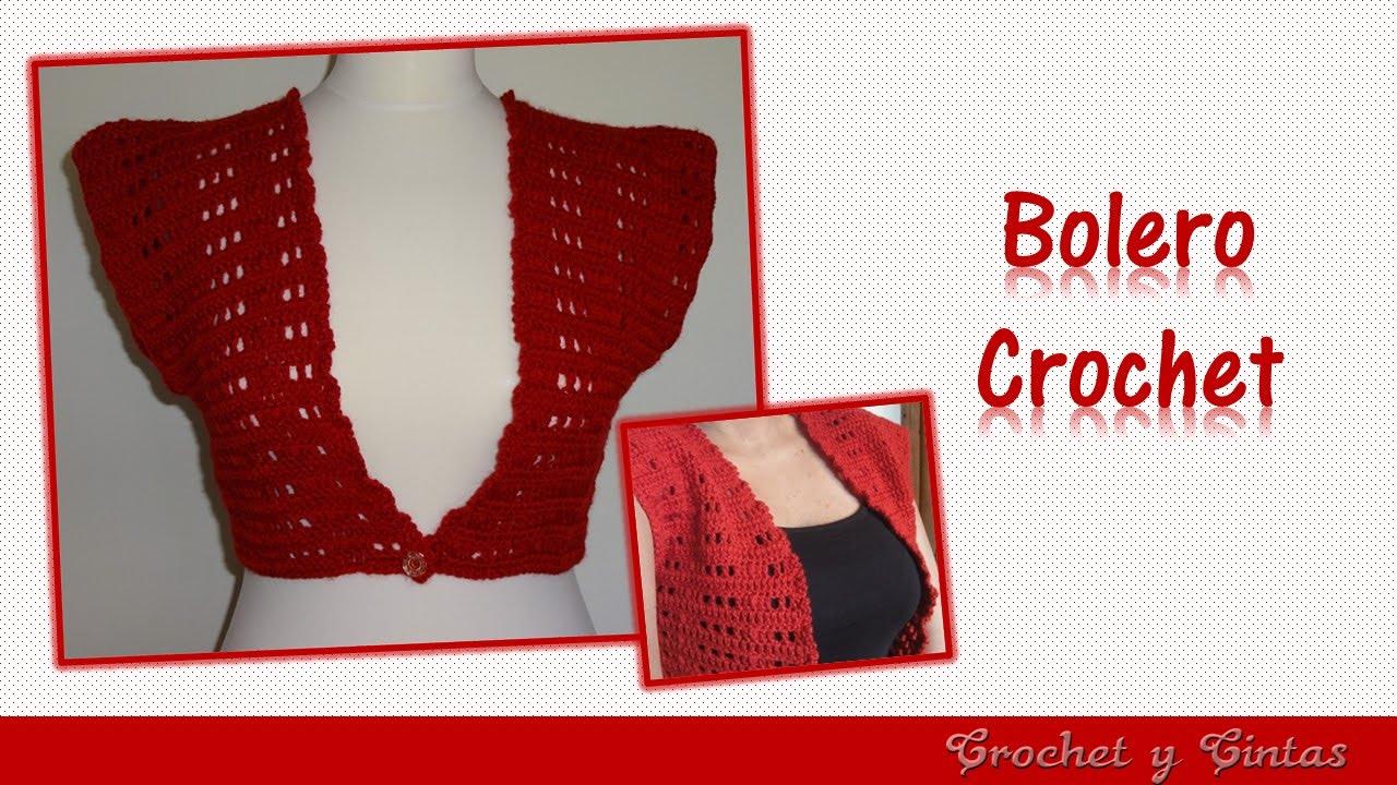 Bolero Tejido a Crochet con Botón o Cinta - YouTube