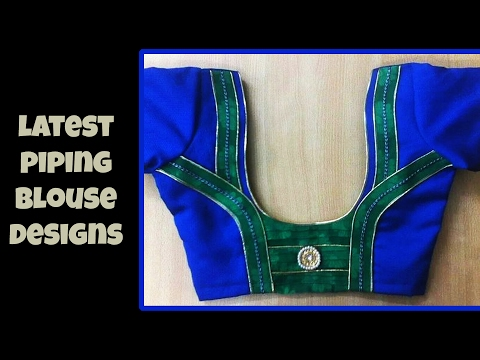 Latest Piping Work Blouse Designs