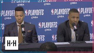Damian Lillard & CJ McCollum Postgame Interview   Pelicans vs Blazers - Game 2   2018 NBA Playoffs