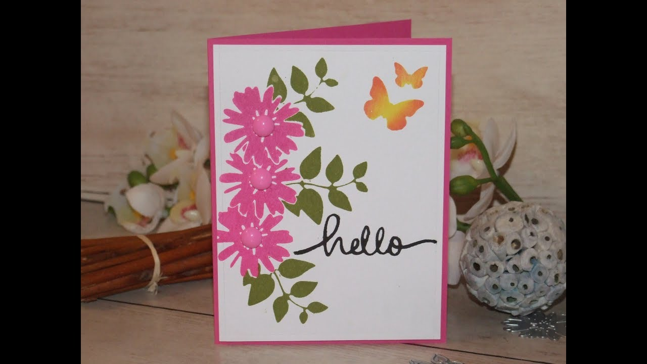 Handmade Card Using Die Cut Stamping Technique Youtube