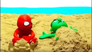 LETS PLAY WITH SAND BEACH SUPERHEROS Play Doh Stop Motion and Cartoons For Kids 💕 Superhero Babies
