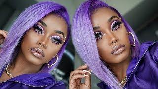 AFFORDABLE Hair n' Makeup | Lavender/ Purple liquid cap Quickweave Bob | Purple Makeup Look | Ywigs