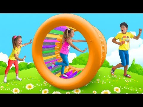 Sasha Plays With Inflatable Roller Toys & Sing I'm Sorry, Excuse Me Song