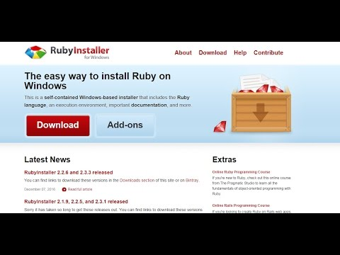 How to install Ruby on windows 7, 8, 10
