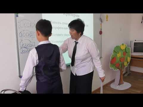 Урок русского языка в 5-ом казахском классе.