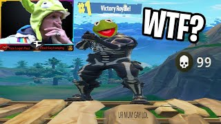 STREAMERS REACT TO KERMIT E FROG GETTING WINNING A SCRIMS IN FORTNITE *MAD*