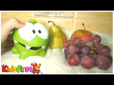 Om-Nom Monster Frog - TUMMY ACHE! - Fruit & Food Safety Educational Video for Children