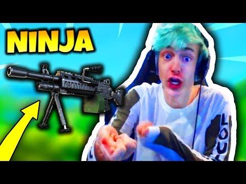 NINJA REACTS TO *NEW* LIGHT MACHINE GUN (LMG GAMEPLAY)   Fortnite Daily Funny Moments Ep.41