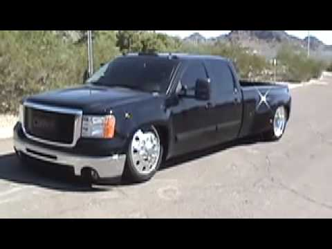 Bagged 2008 GMC Dually Dragging On The Frame - YouTube