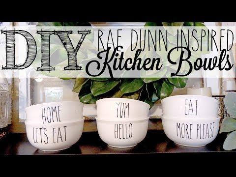 DIY Rae Dunn Inspired Bowls | Dollar Tree Hack